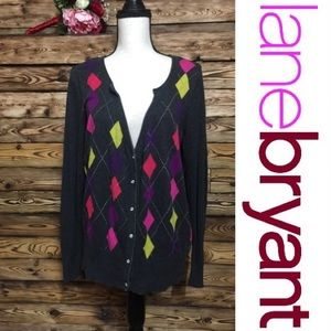 Lane Bryant Argyle Buttoned Sweater Gray🎉14/16